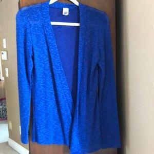 Long blue knit sweater